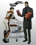 1girl 2011 adam_jensen ass beard bodysuit brown_hair cereal coat couple cyberpunk cyborg deus_ex deus_ex:_human_revolution facial_hair faridah_malik gb_(doubleleaf) genmaipudding gloves gnome good_end highres mole pilot_suit realistic science_fiction shopping shopping_cart short_hair simple_background sunglasses trench_coat
