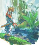 brown_hair from_behind hand_on_hilt headband koota lowres male randi scabbard seiken_densetsu seiken_densetsu_2 sheath solo spiked_hair spiky_hair sword water waterfall weapon