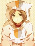 artist_request blonde_hair cat cat_hood collar cosplay hood natsume_takashi natsume_yuujinchou niwa_(19950319) nyanko nyanko_(cosplay) short_hair solo yellow_eyes