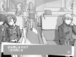 3boys arisato_minato chin_rest closed_eyes ebihara_ai eyes_closed female_protagonist_(persona_3) headphones headphones_around_neck konishi_saki long_hair monochrome morooka_kinshiro morooka_kinshirou multiple_boys multiple_girls narukami_yuu persona persona_3 persona_3_portable persona_4 school_uniform sitting sleeping smile t0kiwa train translated translation_request