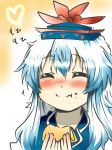 blue_dress blue_hair blush closed_eyes dress eating eyes_closed face food food_on_face hat heart kamishirasawa_keine long_hair rebecca_(keinelove) solo touhou