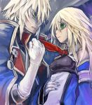 1girl bare_shoulders blazblue blonde_hair cape gloves green_eyes jin_kisaragi kisaragi_jin long_hair lowres military military_uniform necktie necktie_pull nekoda_kuro noel_vermillion uniform