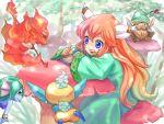 1girl androgynous blue_eyes book feathers fire gnome_(seiken_densetsu) hair_feathers hat jinn_(seiken_densetsu) mushroom popoie red_hair redhead salamander_(seiken_densetsu) seiken_densetsu seiken_densetsu_2 undine_(seiken_densetsu) yuru4u