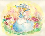 blonde_hair bow braid dress flower flower_field hat hat_bow highres holding holding_flower kirisame_marisa single_braid smelling_flower solo tigern touhou traditional_media watercolor_(medium) witch witch_hat yellow_eyes