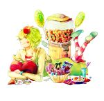 candy candy_apple cup food food_on_head green_eyes green_hair happy_tree_friends heart lollipop lying male nutty on_stomach pantyhose personification simple_background smile solo straw striped striped_legwear sweets tsuyuxxx white_background