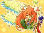 1girl androgynous eijima_moko facepaint feathers green_eyes hair_feathers leaf long_hair male popoie red_hair redhead seiken_densetsu seiken_densetsu_2 smile solo staff tears wings wink