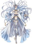 anklet armor bare_shoulders blue_hair breasts detached_sleeves earrings floating_hair honjou_raita horn jewelry large_breasts legs long_hair long_legs navel navel_cutout official_art raita red_eyes riela_marcellis senjou_no_valkyria senjou_no_valkyria_3 solo thigh-highs thighhighs thighs toeless_legwear very_long_hair