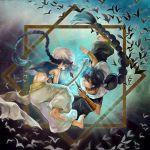 aladdin_(magi) baggy_pants barefoot bat bird black_hair blue_eyes blue_hair braid fatlulu_(1008) judal magi_the_labyrinth_of_magic midriff multiple_boys sinbad_(magi) single_braid turban