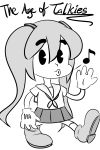 1girl 30s disney disney_(style) gloves hatsune_miku long_hair magister_(bigbakunyuu) monochrome musical_note oldschool parody pie-pupils school_uniform serafuku skirt solo style_parody twintails ub_iwerks_(style) vocaloid whistling