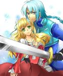 1girl armor blonde_hair blue_eyes blue_hair claire_bennett couple dress gloves green_eyes ichineko. long_hair red_dress serious sword tales_of_(series) tales_of_rebirth veigue_lungberg weapon