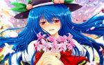 1920x1200 blue_hair blush bouquet flower food fruit happy hat highres hinanawi_tenshi holding lily_(flower) long_hair nekominase peach red_eyes smile solo touhou wallpaper