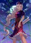 arrow bamboo blue_eyes bow_(weapon) braid cloud dress hat kushabiria long_hair moon ribbon silver_hair single_braid sky solo touhou very_long_hair weapon yagokoro_eirin