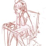 ahoge amplifier chin_rest desk headphones knees_together_feet_apart monochrome pan!ies pantyhose solo sony sugiura_ayano tube_amplifier yuru_yuri
