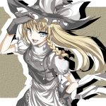 :d blonde_hair blue_eyes bow braid dress fingerless_gloves gloves hand_on_hip hat hat_bow highres hips kirisame_marisa long_hair miruto92 open_mouth single_braid smile solo touhou witch witch_hat