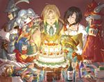 adelbert_steiner armor birthday_cake bottle breasts burmecian cake candle child choker cleavage closed_eyes eiko_carol eyes_closed final_fantasy final_fantasy_ix food freija_crescent full_armor garnet_til_alexandros_xvii happy hat head_wings horn knife quina_quen vivi_ornitier zidane_tribal