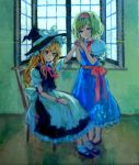 acrylic_paint_(medium) alice_margatroid ama-tou apron blonde_hair blue_eyes bow braid capelet character_doll doll_joints hairband hat hat_bow kirisame_marisa long_hair multiple_girls shoes short_hair single_braid touhou traditional_media waist_apron witch witch_hat yellow_eyes
