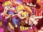 alice_margatroid blonde_hair bloomers blue_eyes book broom character_doll couch cream_puff cure_peace double_v hat jakkun kirisame_marisa multiple_girls pastry precure smile_precure! spoon tea touhou v witch witch_hat