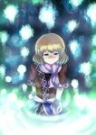 8hachio arm_warmers blonde_hair green_eyes hair_in_mouth highres mizuhashi_parsee pointy_ears scarf solo touhou
