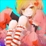 1girl blonde_hair dress elbow_gloves footwear gloves hair_ornament hat hat_removed headwear_removed heart jewelry lambdadelta necklace socks solo striped striped_legwear umineko_no_naku_koro_ni yellow_eyes