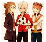 adult bad_id ball brown_hair closed_eyes endou_mamoru eyes_closed glasses gouenji_shuuya grin hairlocs headband inazuma_eleven inazuma_eleven_(series) inazuma_eleven_go jacket kidou_yuuto long_hair male multiple_boys necktie ono_(0_no) open_mouth ponytail short_hair smile soccer_ball