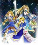 agrias_oaks ahoge armor armored_dress blonde_hair blue_eyes braid breasts brown_eyes cleavage_cutout color_connection crossover dress excalibur fan fate/stay_night fate_(series) faulds final_fantasy final_fantasy_tactics gauntlets highres large_breasts long_hair look-alike multiple_girls pauldrons ponytail saber shin_sangoku_musou shin_sangoku_musou_6 single_braid sword trait_connection wang_yuanji weapon yellow_eyes yososon yusoson