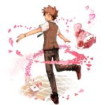 bow brown_hair closed_eyes eyes_closed flower happiny heart hiyo leg_up letter male necktie open_mouth outstretched_arms pants pearl pokemon pokemon_(anime) takeshi_(pokemon) vest watch wristwatch
