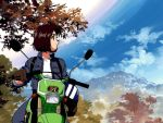 aa_megami-sama brown_hair cloud forest fujishima_kousuke helmet morisato_megumi motor_vehicle motorcycle mountain nature tsujimoto_natsumi vehicle you're_under_arrest you're_under_arrest