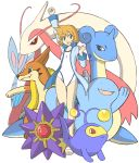 1girl alternate_hairstyle arm_up clenched_hands creature flat_chest floatzel green_eyes jacket kasumi_(pokemon) kasumi_(pokemon)_(hgss) lanturn lapras leg_up milotic one-piece_swimsuit open_mouth orange_hair pokemon pokemon_(creature) pokemon_(game) pokemon_gsc pokemon_hgss pontaaaaa quagsire raised_arm raised_fist red_eyes red_sclera sandals short_hair simple_background smile starfish starmie swimsuit white_background