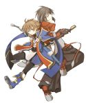 alvin_(tales_of_xillia) always0722 blazblue boots brown_hair coat cosplay gloves grey_eyes jin_kisaragi jin_kisaragi_(cosplay) kakihara_tetsuya kisaragi_jin male multiple_boys pants ragna_the_bloodedge ragna_the_bloodedge_(cosplay) seiyuu_connection shing_meteoryte smile sugita_tomokazu sword tales_of_(series) tales_of_hearts tales_of_xillia weapon white_background