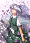 absurdres ascot cherry_blossoms dress dual_wielding grey_eyes hair_ribbon hairband highres hitodama konpaku_youmu konpaku_youmu_(ghost) looking_away petals ribbon scabbard sheath short_hair short_sleeves silver_hair sm5050 solo stairs strap sword touhou vest weapon