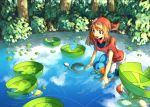 1girl bandana blue_eyes brown_hair creature haruka_(pokemon) kneeling lily_pad lombre lotad mudkip nature open_mouth partially_submerged pokemon pokemon_(creature) pokemon_(game) pokemon_rse skyloop19 tree trees water watering_can