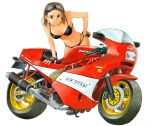 absurdres bare_shoulders bikini black_bikini breasts cleavage ducati earrings engine exhaust fingerless_gloves gloves goggles goggles_on_head hand_on_hip high_heels highres isomoto_tsuyoshi jewelry leaning_forward looking_at_viewer motor_vehicle motorcycle original shoes simple_background smile solo swimsuit vehicle white_background