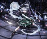 ascot belt bike_shorts blue_eyes boots cherry_blossoms dress dual_wielding fighting_stance fingerless_gloves flame glint gloves hair_ribbon hairband highres katana konpaku_youmu konpaku_youmu_(ghost) lantern long_sleeves looking_at_viewer parted_lips petals ribbon scabbard scarf sheath short_hair silver_hair skyspace solo stairs strap sword touhou tsurime vest weapon