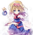 alice_margatroid apron ascot blonde_hair blue_dress blue_eyes bow capelet dress hair_bow hairband itsutsuki jewelry long_sleeves puppet_strings ring sash shanghai_doll short_hair solo touhou wide_sleeves