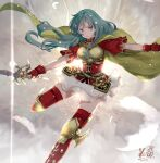1girl armor artist_name blue_eyes blue_hair boots breastplate breasts cape dated eirika_(fire_emblem) fingerless_gloves fire_emblem fire_emblem:_the_sacred_stones fire_emblem_heroes gloves holding holding_sword holding_weapon jewelry kero_sweet looking_away red_gloves red_legwear short_sleeves signature skirt solo sword thigh-highs thigh_boots weapon white_skirt