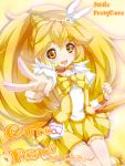 blonde_hair bowtie brooch character_name choker cure_peace dress hair_ornament hairpin jewelry kise_yayoi long_hair magical_girl precure skirt smile smile_precure! solo title_drop v yellow yellow_background yellow_dress yellow_eyes yukinon