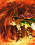 belt blonde_hair fingerless_gloves fire gloves hat link male nintendo ocarina_of_time pointy_ears shield shiwashiwa_no_kinchakubukuru solo sword the_legend_of_zelda weapon