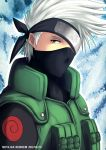 balaclava black_eyes covering_one_eye dated forehead_protector hatake_kakashi headband kei-suwabe male naruto silver_hair solo white_hair