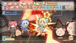 2girls animal_ears attack blonde_hair blue_hair bow braid candy card cat_ears cat_tail character_name chibi cirno coin english fairy fake_screenshot flying frown hair_bow hammer heart ice ice_wings kaenbyou_rin kedama lightning_bolt multiple_girls multiple_tails open_mouth paper_mario parody red_hair redhead short_hair smile star tail touhou translated twin_braids wheelbarrow wings x_x yurume_atsushi