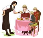 adult apron banana barnaby_brooks_jr blonde_hair brown_eyes brown_hair child cup facial_hair food fried_rice fruit glasses green_eyes hamburger highres hot_dog jacket kaburagi_t_kotetsu katou_setsuko male multiple_boys multiple_persona red_jacket shorts stubble teenage tiger_&_bunny waiter wine_glass young