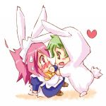 animal_ears bunny_costume bunny_ears chibi eye_contact green_hair justus looking_at_another piku pink_hair shakugan_no_shana short_hair wilhelmina_carmel