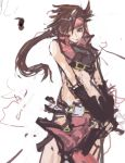 brown_hair crop_top fingerless_gloves genderswap gloves guilty_gear hair_over_one_eye headband long_hair pan!ies ponytail red_eyes sol_badgal sol_badguy solo