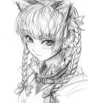 1girl animal_ears blush braid cat_ears collar extra_ears hair_ribbon imizu_(nitro_unknown) kaenbyou_rin looking_at_viewer monochrome ribbon sketch solo touhou twin_braids