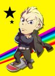 bad_id belt blonde_hair chair chibi crossed_arms earrings folded_arms folding_chair grey_eyes jacket jacket_on_shoulders jewelry long_sleeves looking_at_viewer male pants persona persona_4 persona_4:_the_ultimate_in_mayonaka_arena piercing scar short_hair solo standing star tatsumi_kanji widow's_peak widow's_peak yamizawa