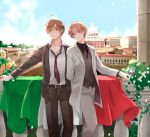 ahoge axis_powers_hetalia blush brothers brown_hair cloud cup flag flower formal frown glass green_eyes hair_intakes head_tilt highres italian_flag long_sleeves looking_at_viewer male multiple_boys necktie northern_italy_(hetalia) nwtm open_clothes open_jacket pants scenery shaded_face shirt siblings sky smile southern_italy_(hetalia) striped striped_pants striped_shirt suit vest white_shirt wine wine_glass yellow_eyes