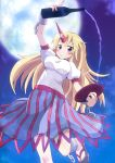 arm_up blonde_hair blue_moon blush bottle decantering full_moon geta grin highres horn hoshiguma_yuugi long_hair massala moon night pouring purple_eyes sakazuki sake sandals skirt smile solo touhou violet_eyes