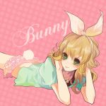 barnaby_brooks_jr blonde_hair bow bunny_tail genderswap green_eyes hair_bow jewelry microskirt necklace pink_background poco24 polka_dot polka_dot_background puffy_sleeves solo t-shirt tail tiger_&_bunny