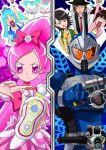3boys 3girls armor arms_up belt blue_eyes blue_hair chypre_(heartcatch_precure!) coffret_(heartcatch_precure!) crossover cure_blossom cure_marine female hanasaki_tsubomi hat heartcatch_precure! helmet hidari_shotaro hidari_shoutarou kamen_rider kamen_rider_accel kamen_rider_w kurumi_erika mahkn male multiple_boys multiple_girls narumi_akiko philip pink_eyes pink_hair ponytail precure pretty_cure season_connection