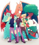 3boys charizard crossed_arms dada_(dolce) dragon feraligatr hand_in_pocket jun_(pokemon) looking_back ookido_green ookido_green_(frlg) open_mouth pokemon pokemon_(creature) pokemon_(game) pokemon_dppt pokemon_frlg pokemon_gsc pokemon_hgss pokemon_rgby red_hair scarf silver_(pokemon) silver_(pokemon)_(remake) striped tongue torterra tree wristband