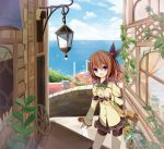 1girl amaretto-no-natsu bag blue_eyes brown_hair building hair_ribbon ocean open_mouth original plant potted_plant ribbon short_hair shorts_under_skirt shoulder_bag side_ponytail skirt smile solo wheel